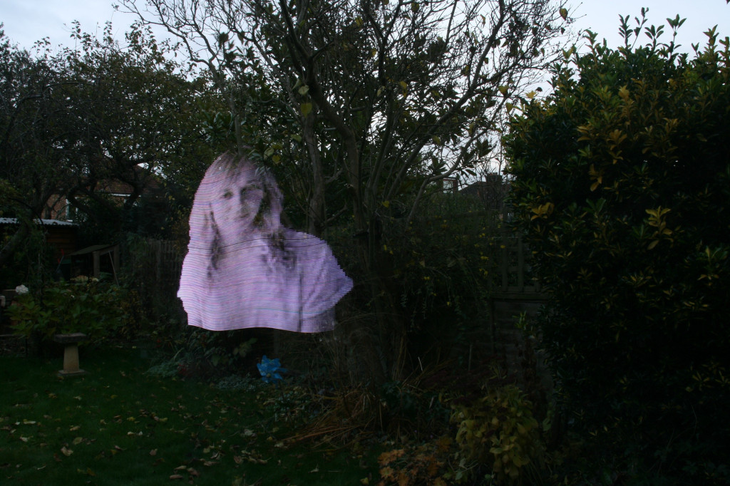 this was done in the garden to show you that this is not a projection