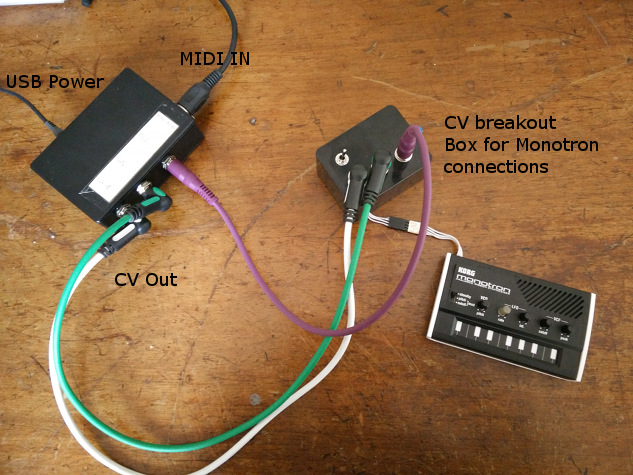 The basis midi din to cv setup. Midi to CV converter via Teensy 3, then to cv breakout box