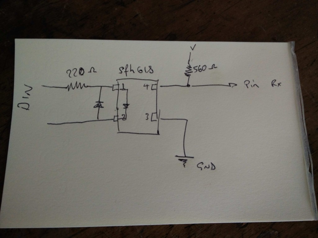 here is the wiring diagram for the opto coupler.