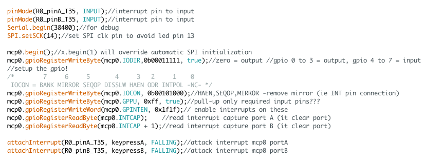 The register setting for using two ports for input and output. Using Sumotoy library for Teensy